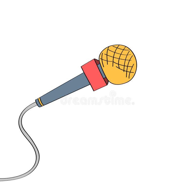Microfono disegnato a mano di stile del fumetto illustrazione vettoriale