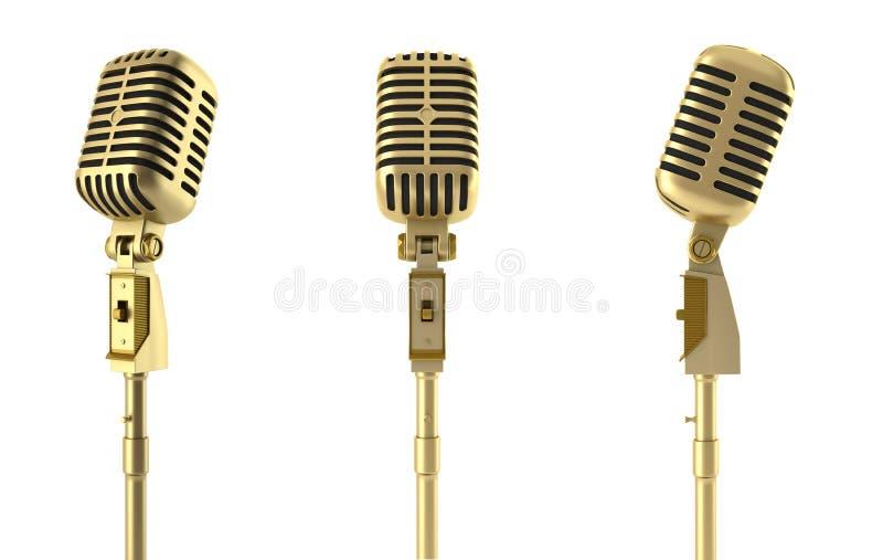 Microfono dorato dell'annata isolato su bianco illustrazione vettoriale