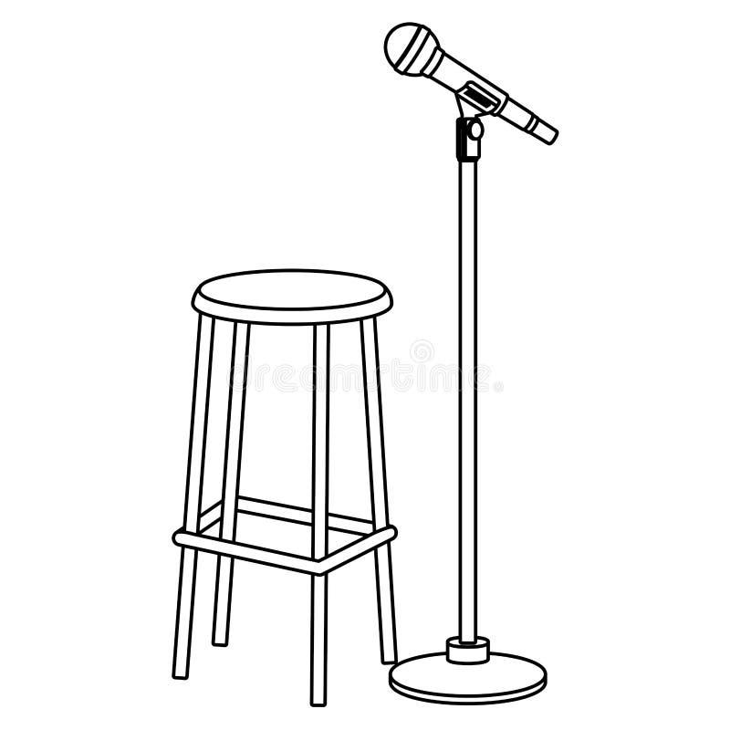 Microfono e sedia in bianco e nero royalty illustrazione gratis