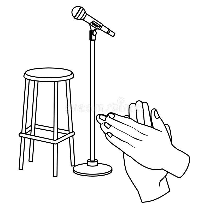 Microfono e sedia in bianco e nero illustrazione di stock