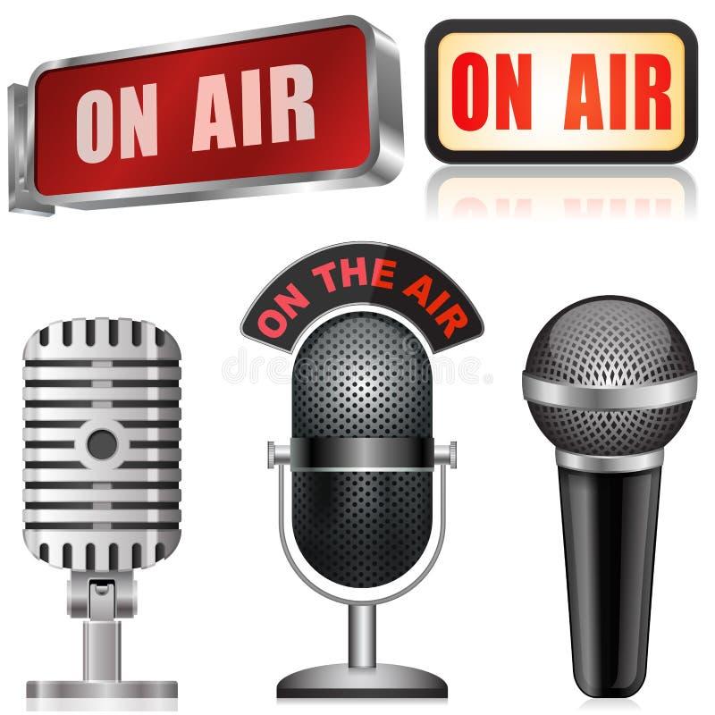Microfono e sul segno dell'aria illustrazione di stock