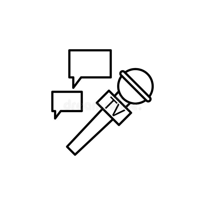 microfono ed icona della bolla di comunicazione Elemento del giornalista per l'illustrazione mobile dei apps di web e di concetto illustrazione vettoriale