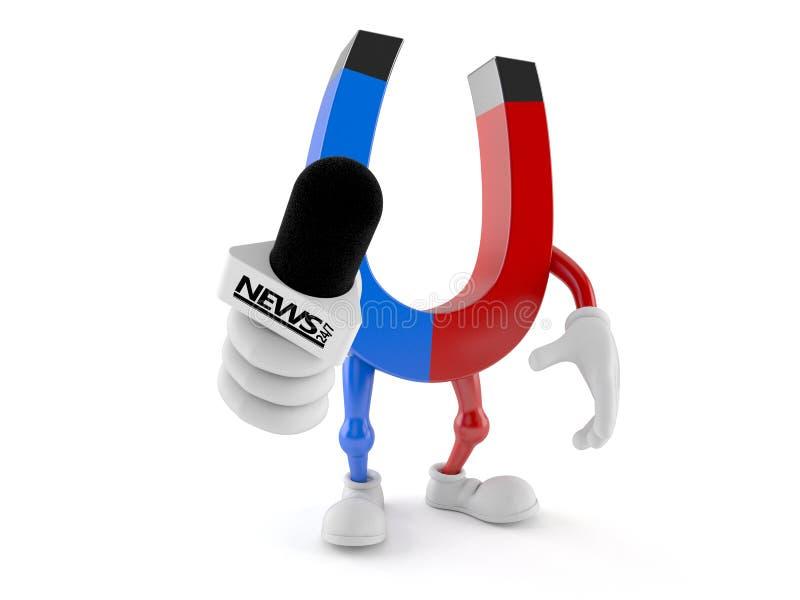 Microfono a ferro di cavallo di intervista della tenuta del carattere del magnete illustrazione di stock
