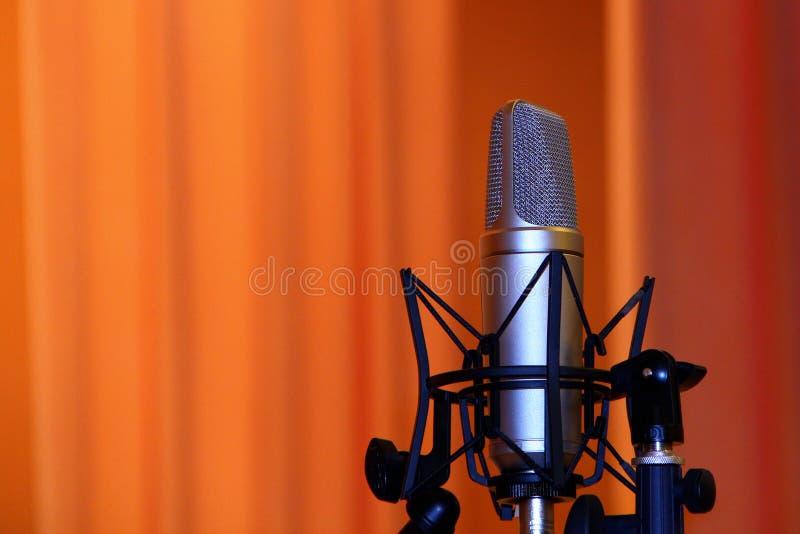 Microfono professionale, condensatore Mic On The Stage, primo piano, spazio della copia fotografia stock libera da diritti