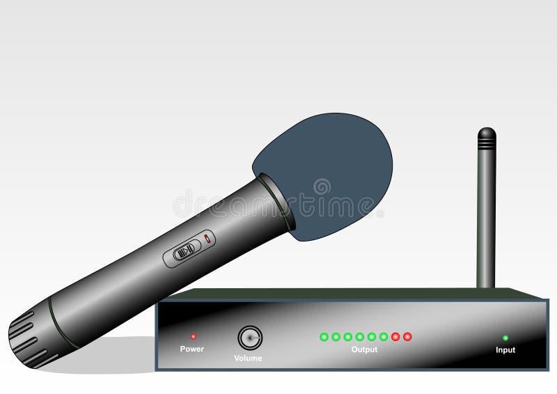 Microfono senza fili con la ricevente illustrazione di stock