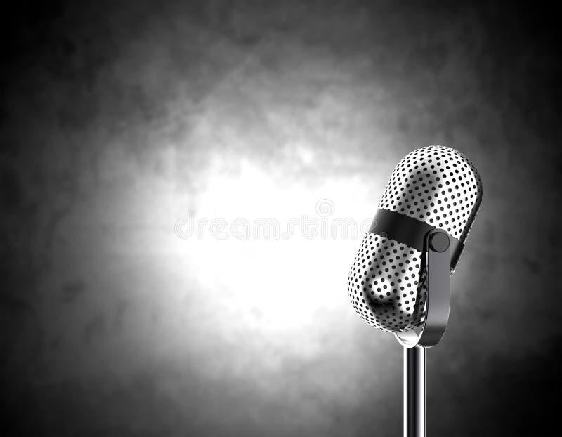 Microfono su in bianco e nero royalty illustrazione gratis