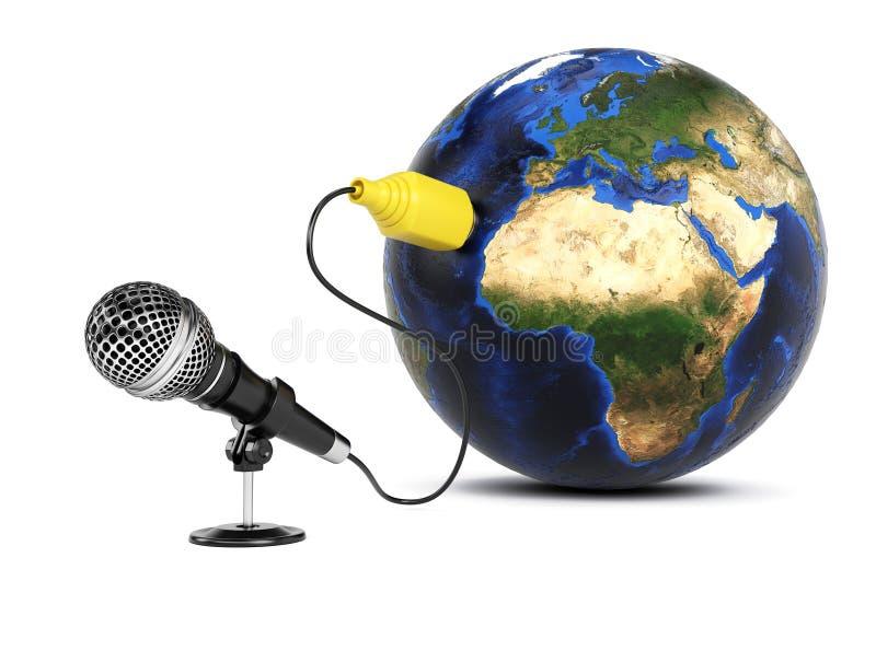 Microfoon aan de Aarde wordt aangesloten die royalty-vrije illustratie