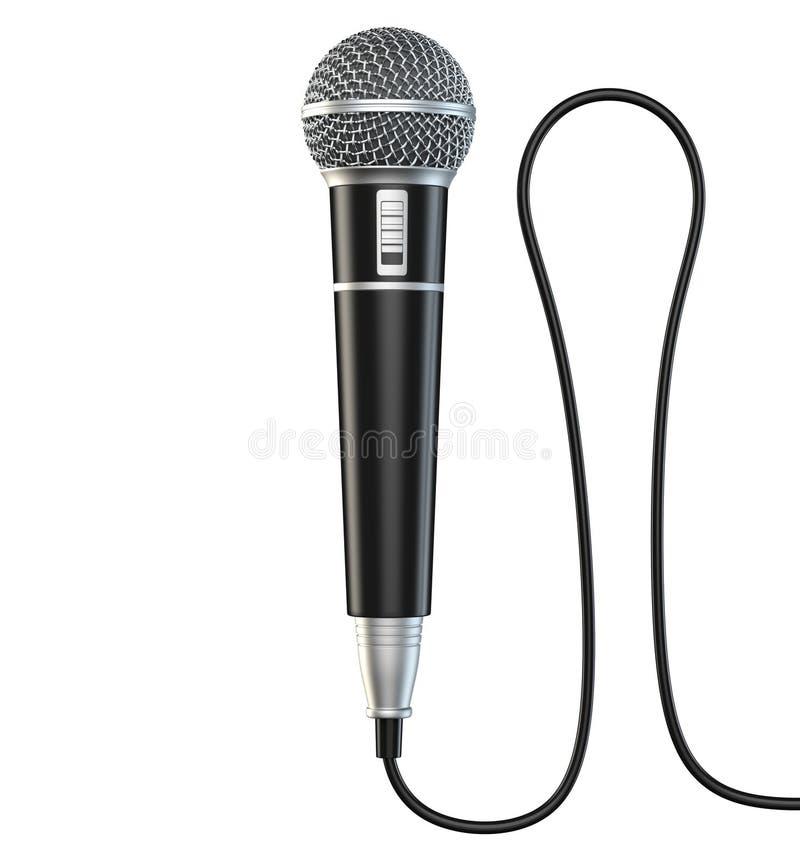 Microfoon en de kabel op witte 3D die achtergrond wordt de geïsoleerd geven terug stock illustratie
