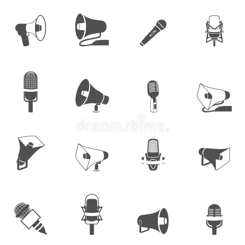 Microfoon en megafoonpictogrammenzwarte royalty-vrije illustratie