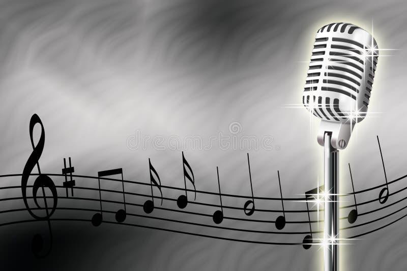 Microfoon en muzieknoten royalty-vrije stock foto's