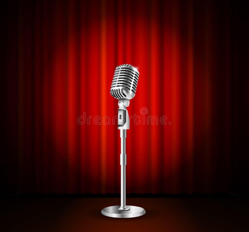 Microfoon en rood gordijn royalty-vrije illustratie