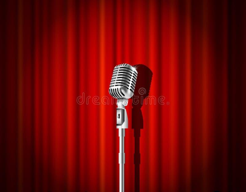 Microfoon en rood gordijn vector illustratie