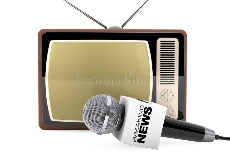 Microfoon met het Breken van het Teken van de Nieuwsdoos en Retro Oude TV 3d trek uit stock illustratie