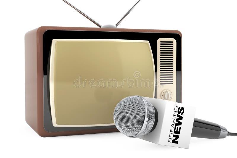 Microfoon met het Breken van het Teken van de Nieuwsdoos en Retro Oude TV 3d trek uit vector illustratie