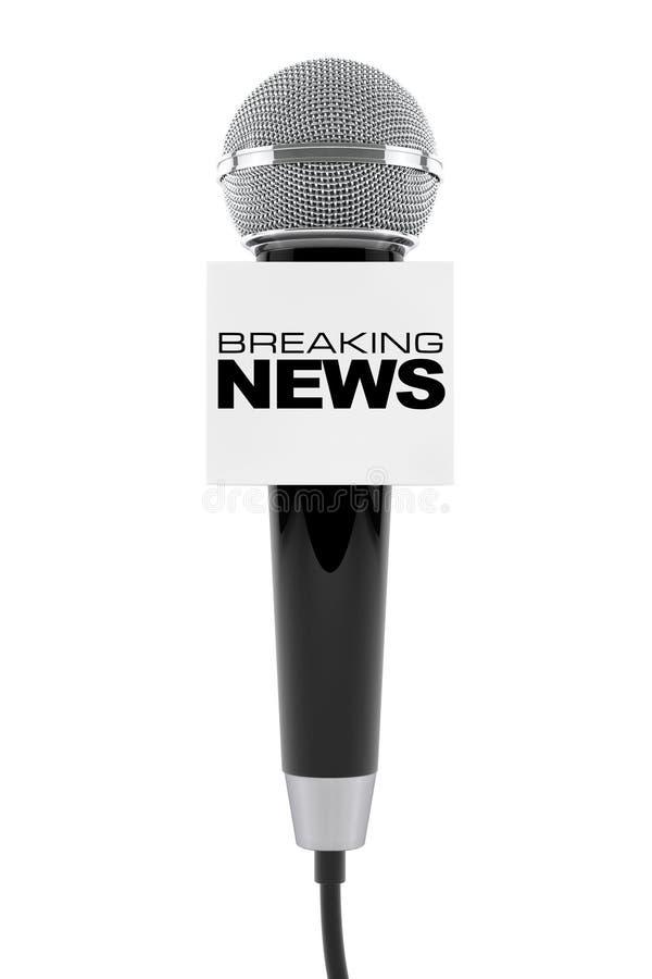 Microfoon met het Breken van het Teken van de Nieuwsdoos het 3d teruggeven royalty-vrije illustratie