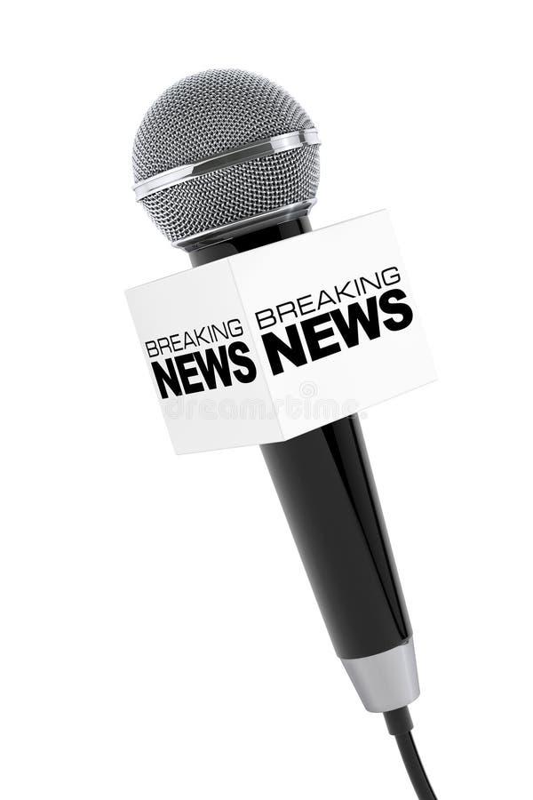 Microfoon met het Breken van het Teken van de Nieuwsdoos het 3d teruggeven vector illustratie