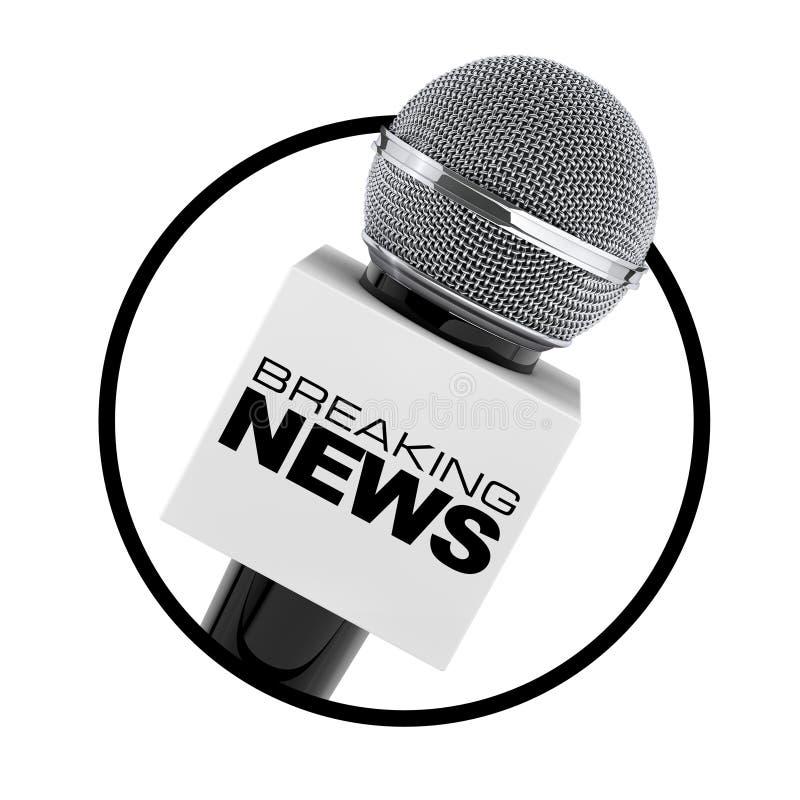 Microfoon met het Breken van het Teken van de Nieuwsdoos als Cirkelpictogram 3d geef terug vector illustratie