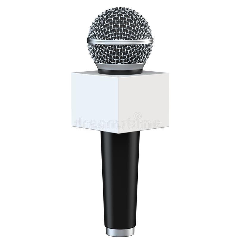 Microfoon met lege ruimtediedoos op witte achtergrond wordt geïsoleerd 3D Illustratie stock illustratie