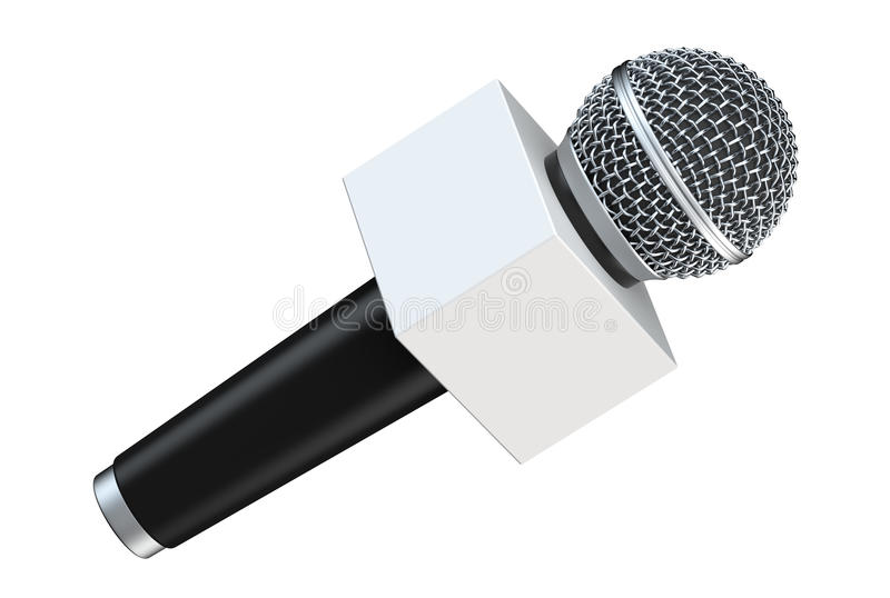 Microfoon met lege ruimtediedoos op witte achtergrond wordt geïsoleerd 3D Illustratie royalty-vrije illustratie
