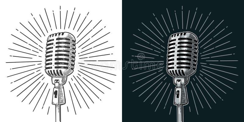 Microfoon met straal Uitstekende vector zwarte gravureillustratie vector illustratie