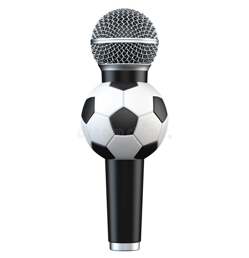 Microfoon met voetbal, voetbalbal 3D geef terug, geïsoleerd op witte achtergrond met schaduw stock illustratie