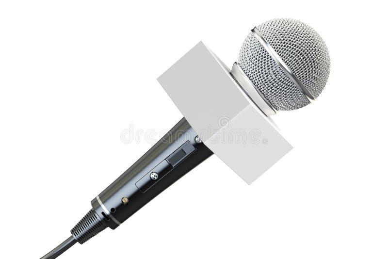 Microfoon met witte doos, het 3D teruggeven royalty-vrije illustratie