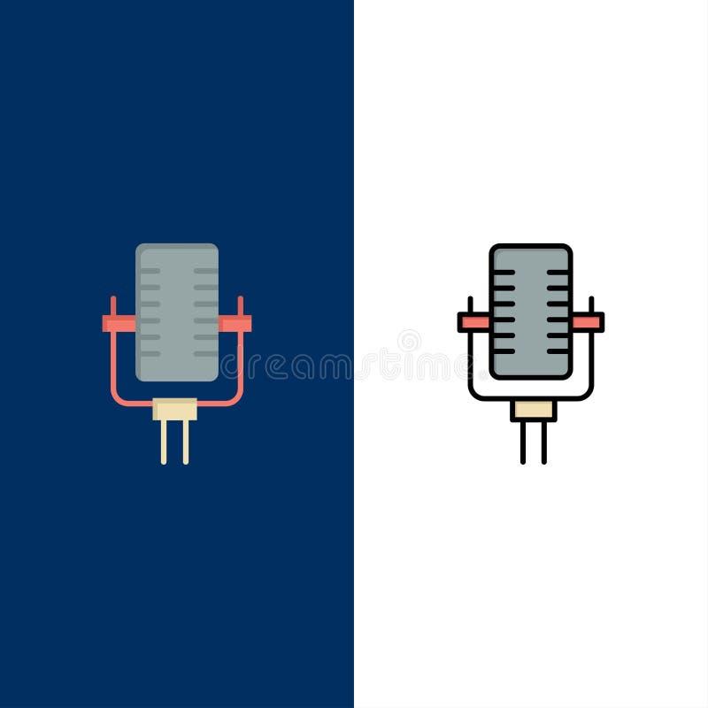 Microfoon, Multimedia, Verslag, Liedpictogrammen Vlak en Lijn vulde Pictogram Vastgestelde Vector Blauwe Achtergrond royalty-vrije illustratie