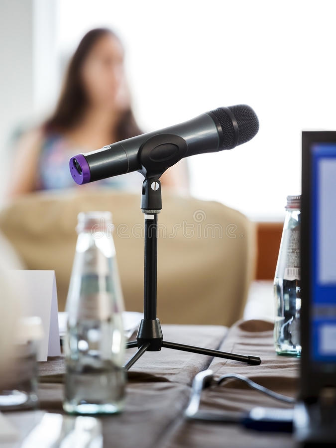 Microfoon op conferentie royalty-vrije stock foto