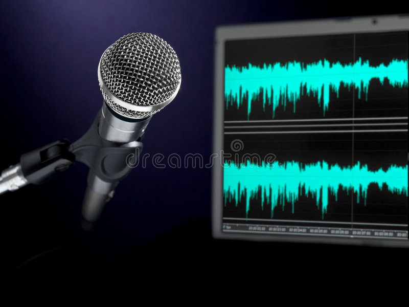Microfoon op opnamestudio. royalty-vrije stock foto's