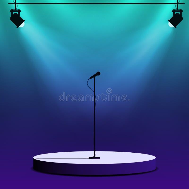 Microfoon op ronde stadiumscène Schijnwerpers met lichtstralen royalty-vrije illustratie