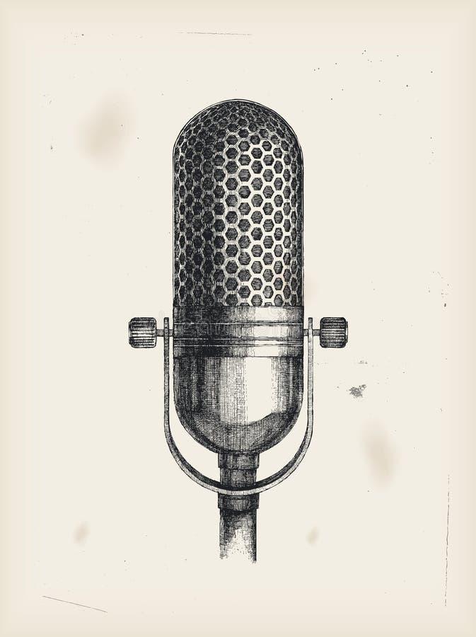 Microfoon-tekening royalty-vrije illustratie