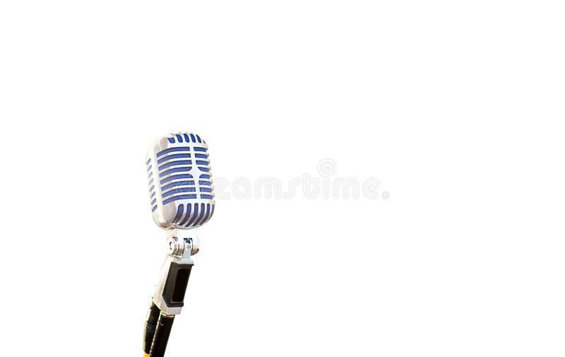 Microfoon uitstekende stijl op witte achtergrond beeld voor voorwerp , achtergrond en exemplaarruimte materiaal van geluid, stock foto's