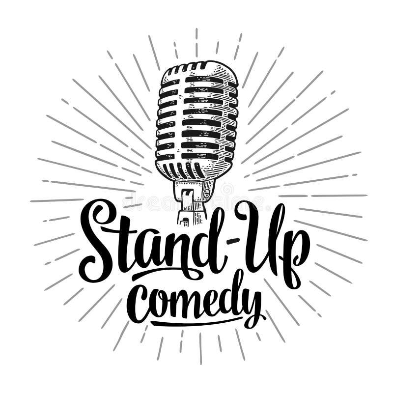 Microfoon Van letters voorzien tekst Stand-Up komedie Uitstekende gravureillustratie royalty-vrije illustratie