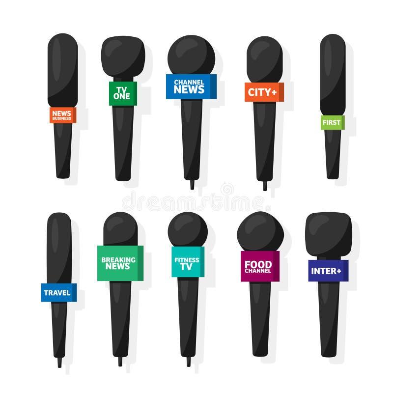 Microfoon, verslaggeversmateriaal in vlakke stijl De massamedia, TV-televisie tonen Televergadering en gesprek broadcasting stock illustratie
