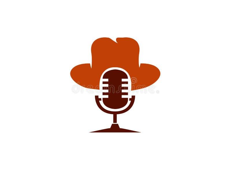 Microfoonkaraoke met hoed voor de illustratie van het embleemontwerp vector illustratie