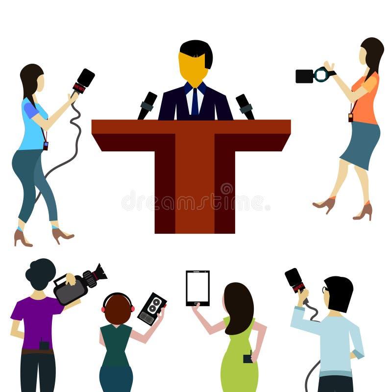 Microfoons die op witte achtergrond worden geïsoleerd stock illustratie