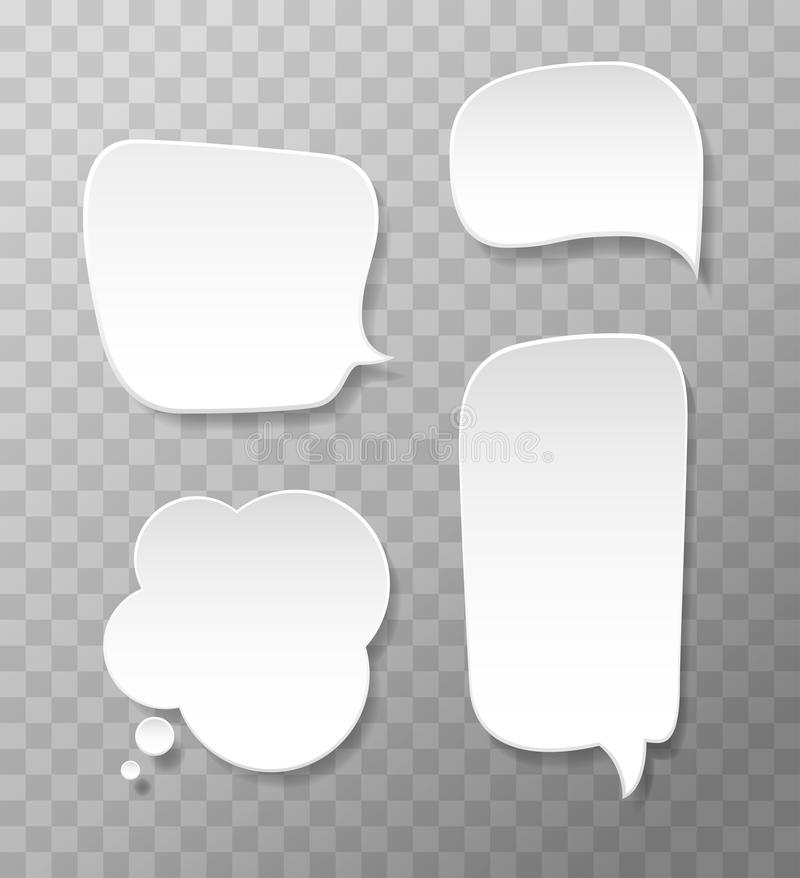 Vector set of white paper speech bubbles.  Thought, dreams balloons. Message blank isolated royalty free illustration