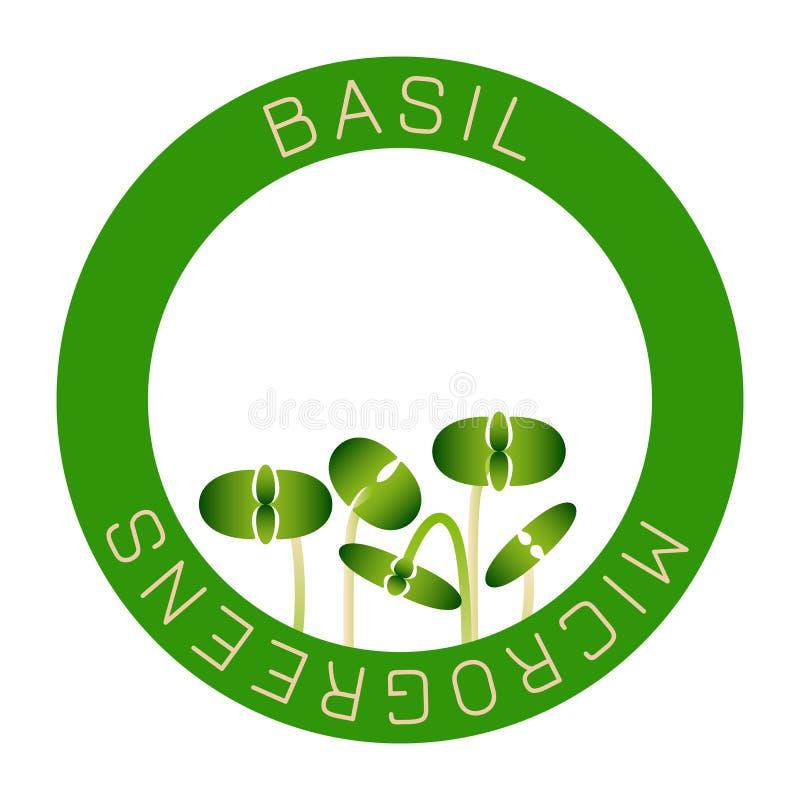 Microgreens Basil Conception d'emballage de graine, élément rond au centre Graines de germination d'une usine illustration de vecteur