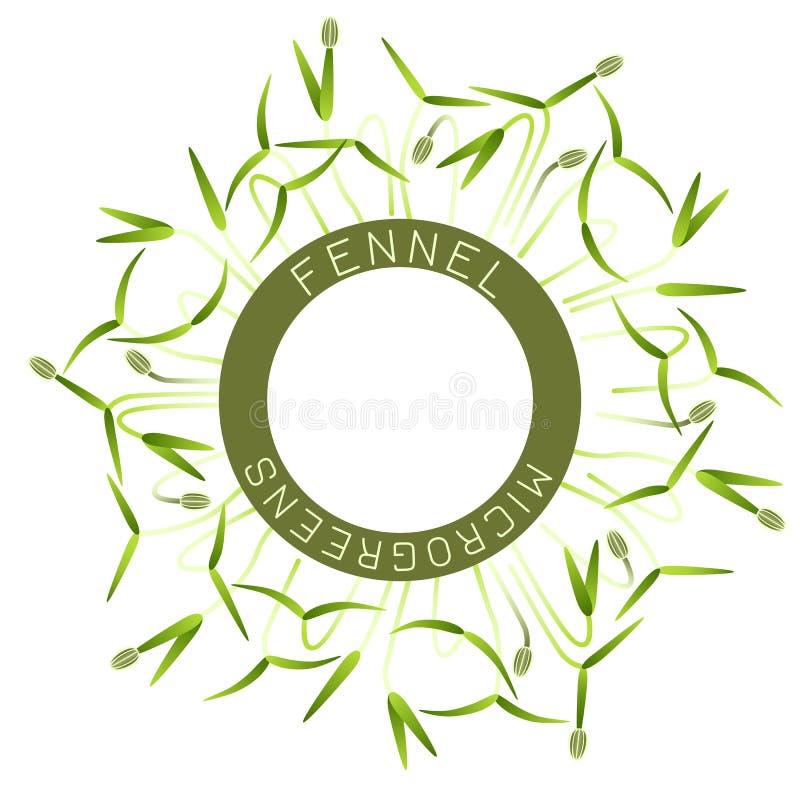 Microgreens-Fenchel Verpackungsgestaltung des Samens, rundes Element in der Mitte Um ihn Spr?sslinge lizenzfreie abbildung