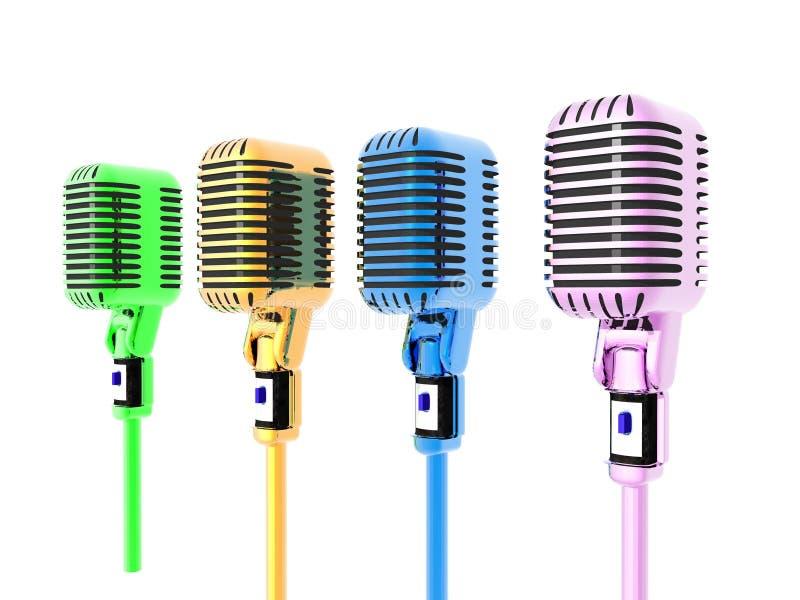 Microhones coloridos fotos de stock royalty free