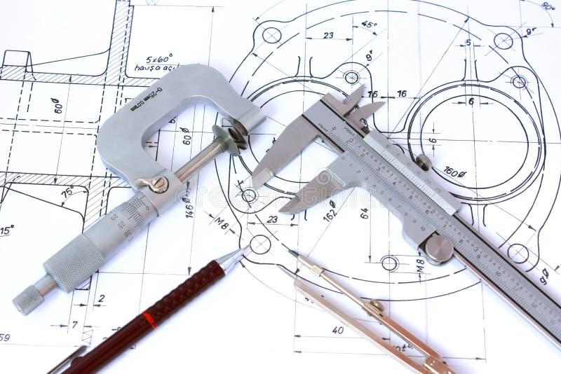 Micrometer, Beugel, Mechanisch Potlood en Kompas royalty-vrije stock afbeeldingen