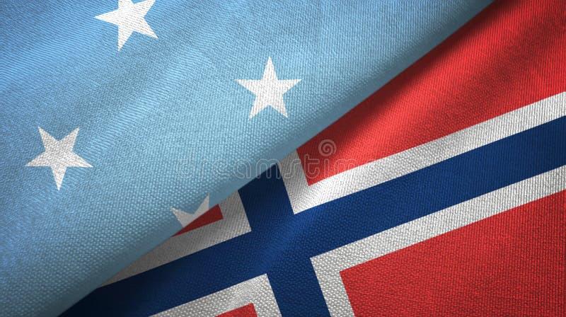 Micronesië en Noorwegen twee vlaggen textieldoek, stoffentextuur vector illustratie