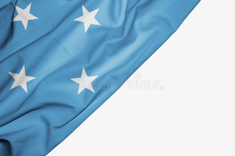 Micronesia flag of fabric with copyspace for your text on white background. Asia banner best blue capital colorful competition country ensign free freedom glory stock illustration