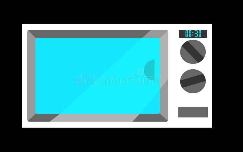 Microonda blanca con el vidrio azul en un fondo negro ilustración del vector