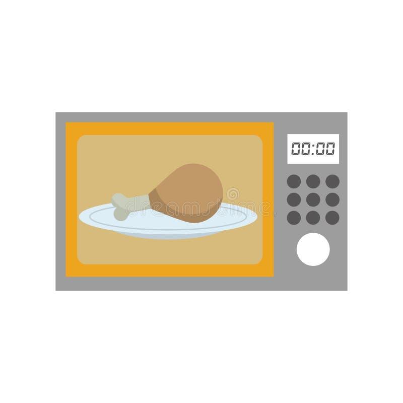 Microonda del forno con l'icona deliziosa della carne di pollo royalty illustrazione gratis