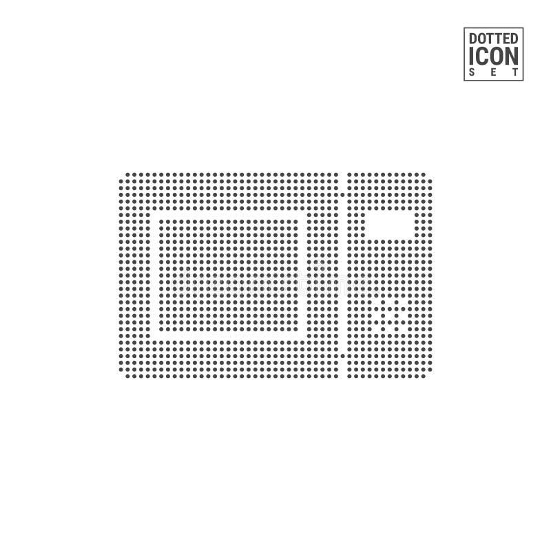 Microonda Oven Dot Pattern Icon Icona punteggiata fornello isolata su bianco Modello del fondo o di progettazione di vettore illustrazione vettoriale