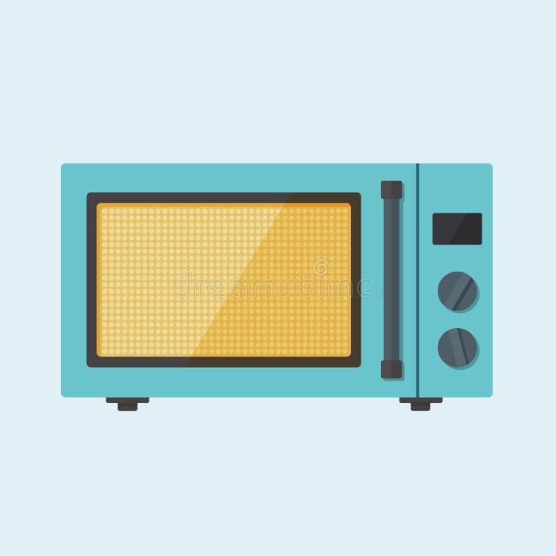 Microonda plana Oven Illustration del vector del color del estilo ilustración del vector