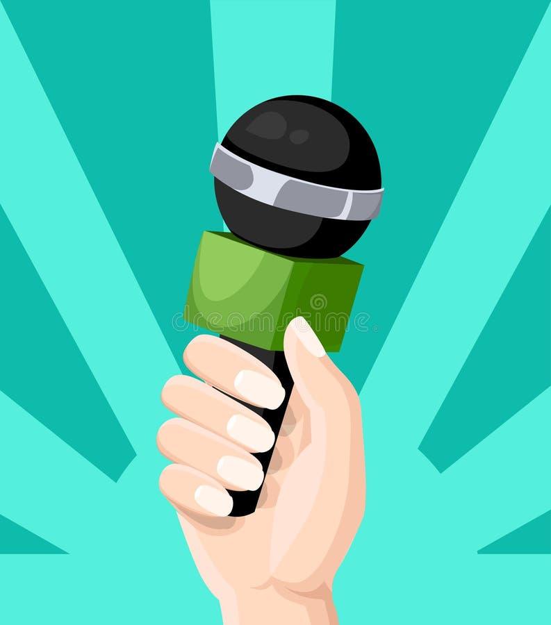 Microphon dans le journaliste remet l'illustration plate blogging de style d'entrevue télévisée sur le site Web de fond de turquo illustration stock