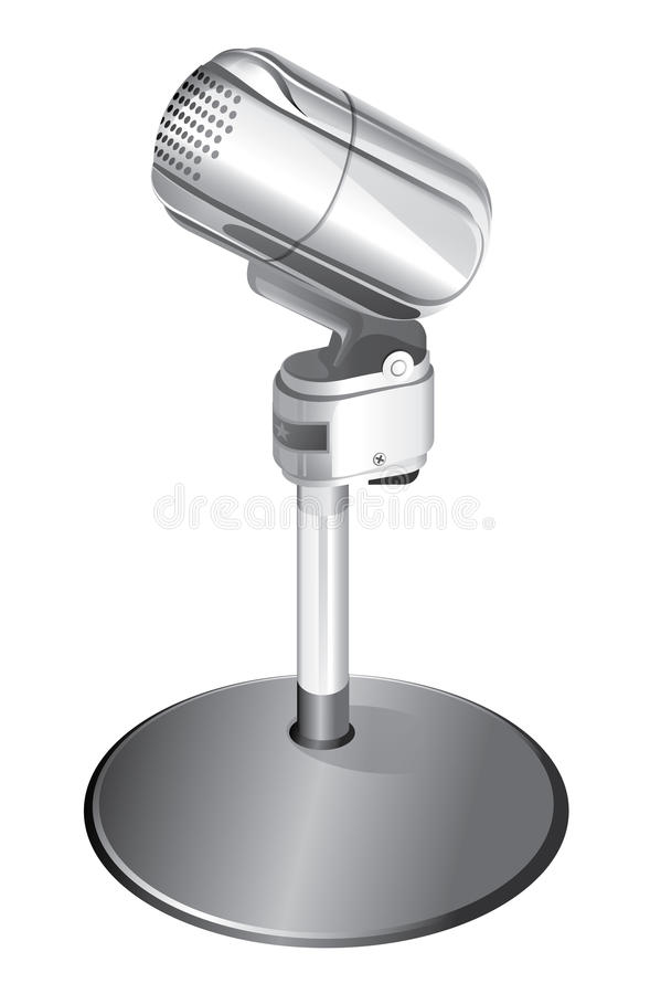 Microphone. Vector microphone isolated on white background stock illustration