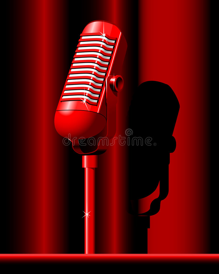 Microphone. Red retro Microphone on the red background royalty free illustration